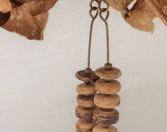 coconut shell,coconut earrings,natural earrings,brown shades earrings,stack earrings,festival earrings,bronze bead earrings,arty earrings,