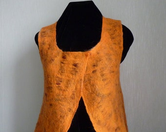 Felted Waistcoat / Vest / Bolero / Sleeveless Felt Jacket, orange and brown vest, merino wool vest, wearable fiber art, Size M