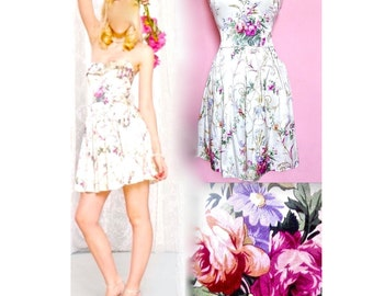 BETSEY Sweetheart Baroque Floral Strapless Formal/Prom Fit-Flare/Sundress S/6/M/8/
