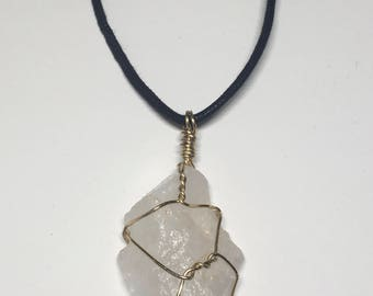 Clear Quartz - Clear Quartz Necklace - 18ga Gold Wire