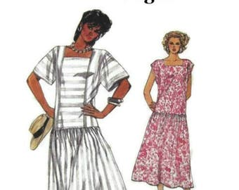 Vintage Vogue 80's Sewing Pattern - Vogue 1985 Dress Pattern 9241 - Loose fitting Dress with Drop Waist Size 12 14 16