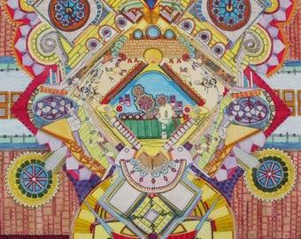 The shield, painting, illustration, fairytale