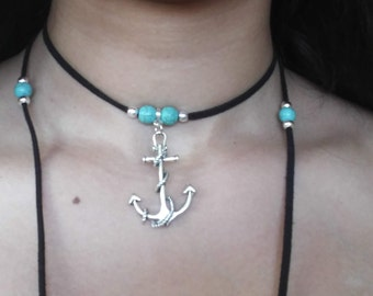 Multi-wear anchor necklace with bracelet