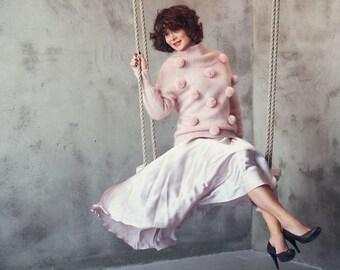Pink cashmere sweater - knit pompom sweater  - cashmere sweater - pompoms - luxury knitwear - pink knit sweater - tender pink - pink sweater