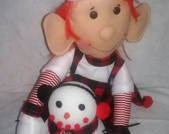 Handcrafted Elf Doll Holding Snowman