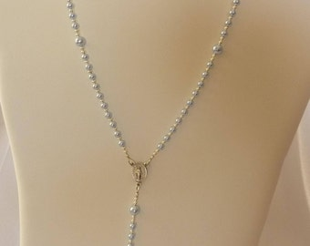 Swarovski Pale Blue Pearl Catholic Rosary Necklace