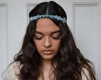 boho headpiece, bridal headband, bridal boho headpiece, blue headband, blue headpiece, MOSELLE spike headband, wedding, aquamarine headpiece