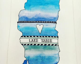 Heart Tahoe Watercolor