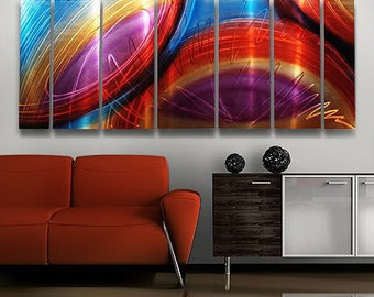 Huge Modern Metal Wall Art in Red, Blue & Pink, Contemporary Wall Sculpture, Multi Panel Abstract Wall Decor - Accumbent XL by Jon Allen