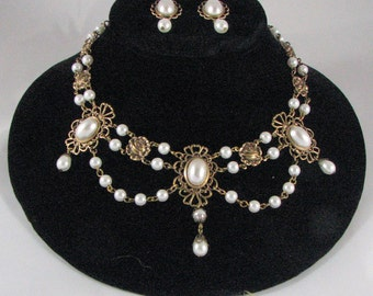 Victorian Necklace of Pearls, Filigree and Roses with matching Earrings