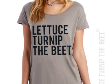 lettuce turnip the beet ® trademark brand OFFICIAL SITE - clay women's t shirt with classic black logo - yoga, crossfit, zumba, barre, music