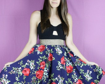 Red Rose Skirt, Flower Skirt, Handmade Floral Skirt, ROSE Skirt, OOAK red blue skirt, Roses skirt, Floral Twirl Skirt