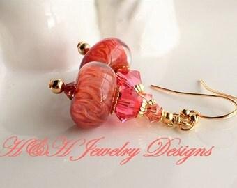 Peachy Pink Boro Swarovski Crystal Earrings, Boro Earrings, Peach Pink Lampwork Earrings, Swarovski Earrings, Pink Earrings, Peach Glass