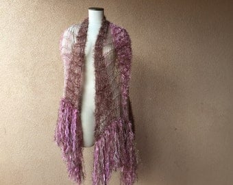 Same Designer Shawl Worn by Stevie Nicks for Rhiannon, Hand Knit by Stevie Nicks Designer Crickets in Rose PInk and Beige Colors, Fringe