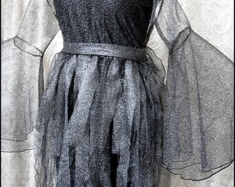 Silver Strega Tunic by Kambriel - Sheer Metallic Silver Black Bodice - Flared Bell Sleeves - Tattered Hem - Brand New & Ready to Ship!