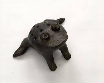 Pierced Black Oaxaca Mexican Frog Incense Burner, Figural Folk Art Pottery