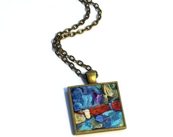 Hand Painted Art Necklace , One of a Kind, Purple, Pendant , Wearable Art, Red, Blue, Necklace, Handpainted Pendant