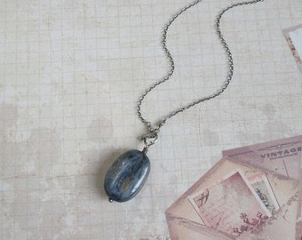 Rustic Kyanite Toggle Necklace, Oxidized 925 Sterling Silver, Blue Gemstone Antiqued Jewelry