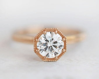 1ct Solitaire Art Deco Engagement Ring | 1ct FB Moissanite or Forever One Moissanite | Octagon Setting Rose Gold Engagement Ring