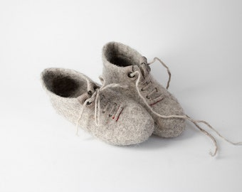 Organic wool kids slippers ankle boots Felted natural wool booties for children
