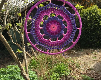 Crochet mandala dreamcatcher web wall art