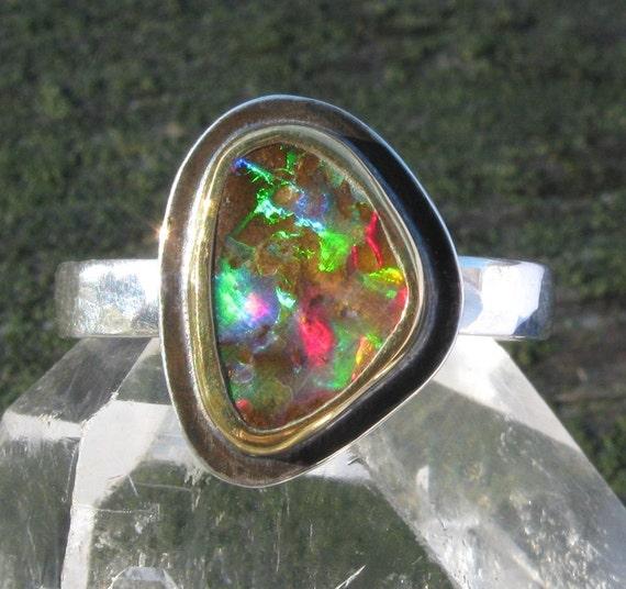 Australian Boulder Opal Ring - Sterling Silver 22K Gold Boulder Opal ring - US size 7 1/4 - mixed metal Opal ring - size 7.25
