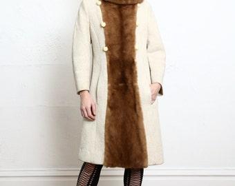 SALE 1960s COAT Fur Trim