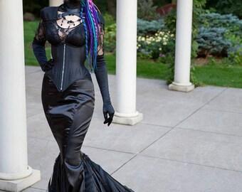 Gothic Mermaid Fetish Gown - Vampire Dark Goth Wedding Distressed Punk- Masquerade Queen - Custom to Order