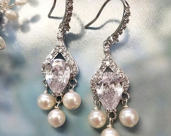 Pearl Earrings with CZ Teardrop, Wedding Jewelry, Dangle Earrings, Crystal Earrings, Bridal Jewelry, Chandelier Earrings