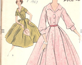 Vogue 9117 1950s Misses Romantic Shirtwaist Dress Pattern Open Throated Wide Skirt Womens Vintage Sewing Pattern Size 16 Bust 36
