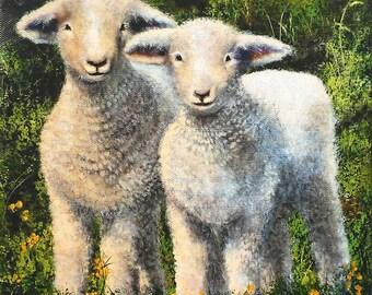 Framed Lambs Print on Canvas embellished