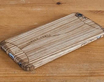 Zebrawood iPhone Case - Stealth Style - Lumber Armor - Wood Case for iPhone 7, iPhone 6S, iPhone 6 - In Maple, Teak, Walnut & more!