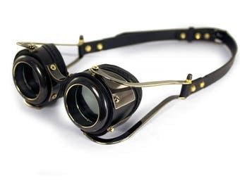 STEAMPUNK GOGGLES black leather blackened brass gears Quad Flex BRIGADIER