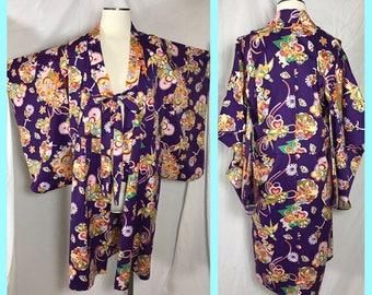Short Kimono or Yukata in Brilliant Purple and Orange Print