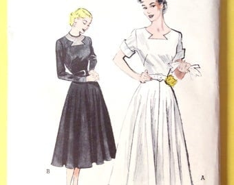 Uncut Butterick 5562 One-Piece Dress Keyhole Neckline, Flared Skirt Printed Pattern 1950s Vintage Sewing Pattern  Bust 38 inches