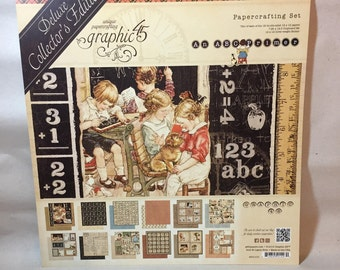 Graphic 45, ABC Primer, Deluxe Collector's Edition, Scrapbook Paper, Children, Paper for Scrapbooking, Vintage, Books, Reading, School