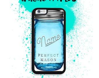 iPhone 7 or 7 PLUS Custom Name Blue Mason Jar Phone Case