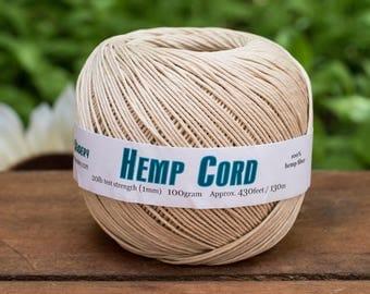Natural Hemp  1mm,  430 Feet,  Twine,  Hemp String, Macrame  Cord, Hemp Fiber -T72