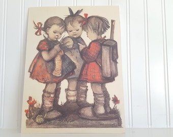 Hummel Print, Dry Mounted on Foam Board, Girls knnitting and visiting,  7.75x10.25 Inches