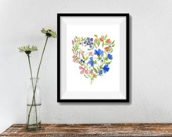 wild flower art print, Wild flower wreath watercolor, mother's day, Heart shape floral print, wild flowers art, botanical art, Valentine
