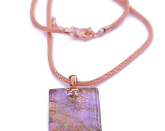 Dichroic Glass and Copper Pendant, Fused Glass Pendant, Iridescent Glass Pendant, Pink Pendant, Dichroic Glass Necklace, Copper Necklace