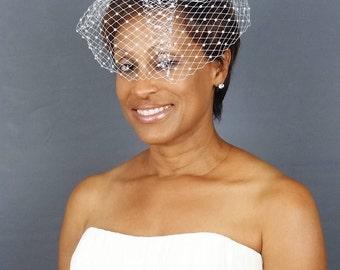 Birdcage Veil with Pearls, Short Veil, Blusher Veil, Bridal Veil, Ivory Veil
