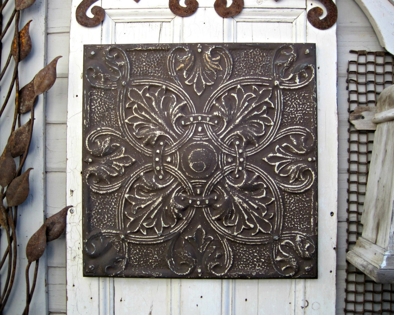 tin ceiling tile antique architectural salvage rustic brown. Black Bedroom Furniture Sets. Home Design Ideas