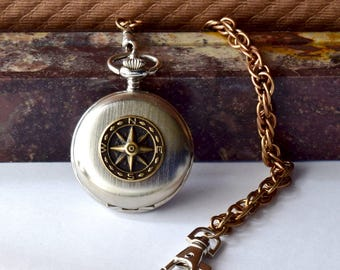 Nautical Pocket Watch Compass Miyota Citizens Wedding Father Best Man Groomsmen Men's Bronze Eighth 8th Anniversary Birthday Retirement Gift