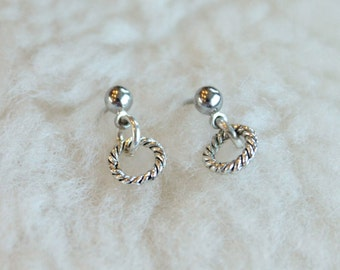 Surgical Steel Post Earrings - Small Textured Hoops (Hypoallergenic Earrings for Sensitive Ears // Surgical Steel Stud Earrings)