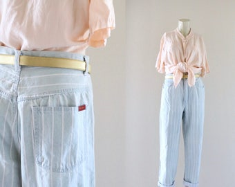 high waist pin stripe jeans / 12