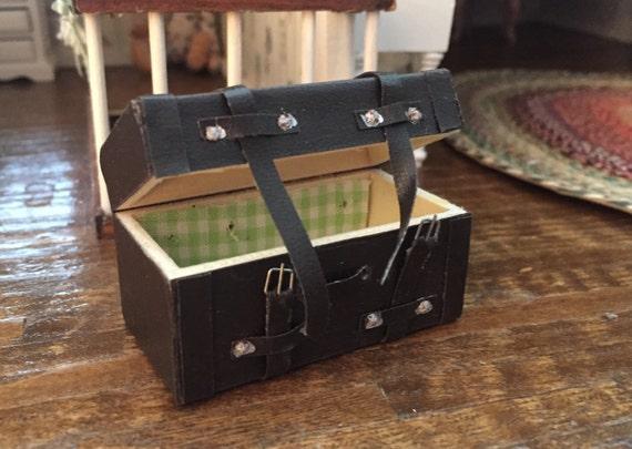 Miniature Steamer Trunk, Style 834, Dollhouse Miniature, 1:12 Scale, Dollhouse Accessory, Mini Trunk With Buckles, Dollhouse Mini Decor Item
