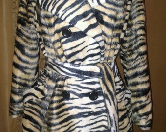 1960s Tiger Print Faux Fur Coat