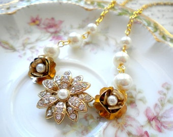Gold Choker Necklace Gold Rhinestone Necklace Pearl Choker Necklace Gold Flower Necklace Rhinestone Bridal Necklace Ivory Pearl Necklace