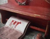 Barn Red Rustic Farmhouse Wood Shelf w Towel Bar.  Distressed weathered Rustic Decor.